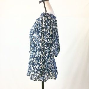 Alfani Ikat Print Off Shoulder Top, Blue & White